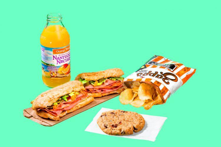 Orange Mango juice (250), big Italian sandwich with mayonnaise (1,088), chips (220), cookie (420)