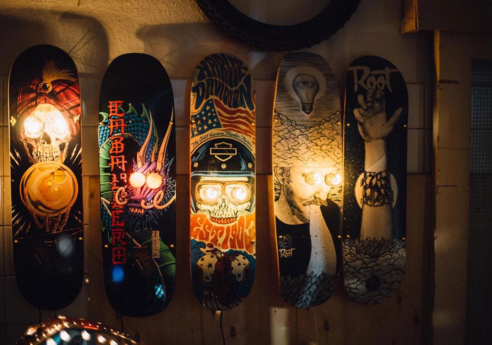 Skateboardlampen leuchten