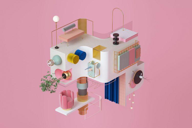 Räume als Kubus – diese 3D Renderings heben die Schwerkraft auf