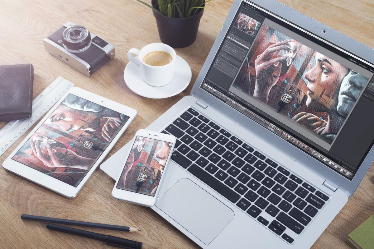 Kreativ unterwegs auf dem Tablet oder Smartphone arbeiten