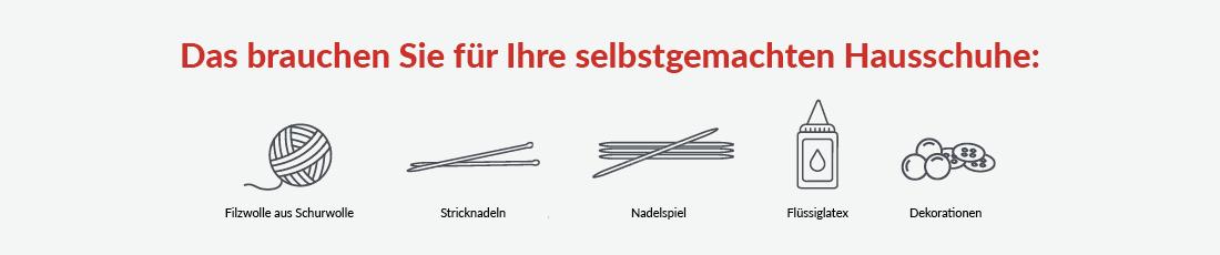 Abbildung: Auf einen Blick - das brauchst du für deine selbstgestrickten Filz-Hausschuhe