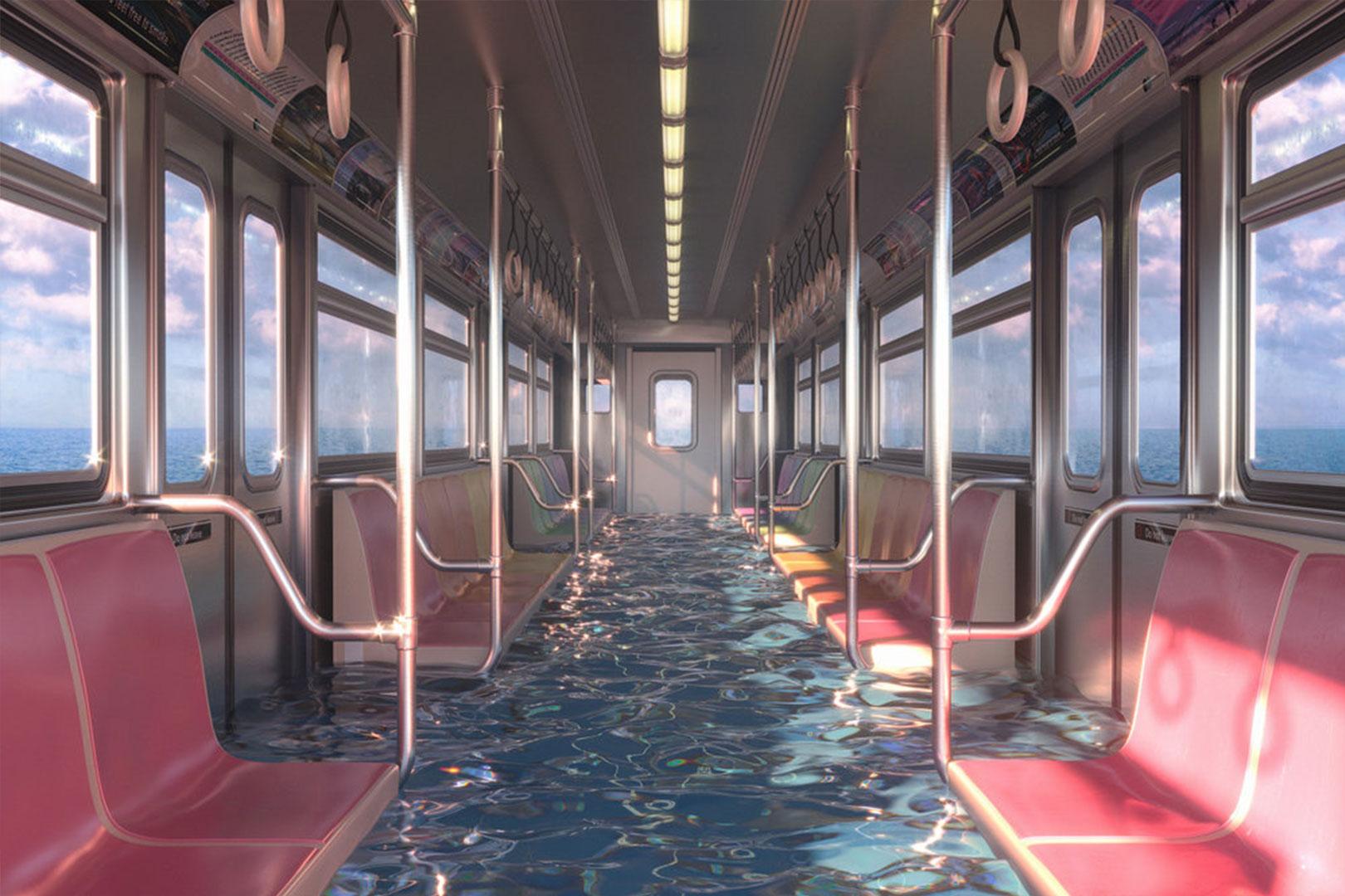 Ubahnwagon unter Wasser