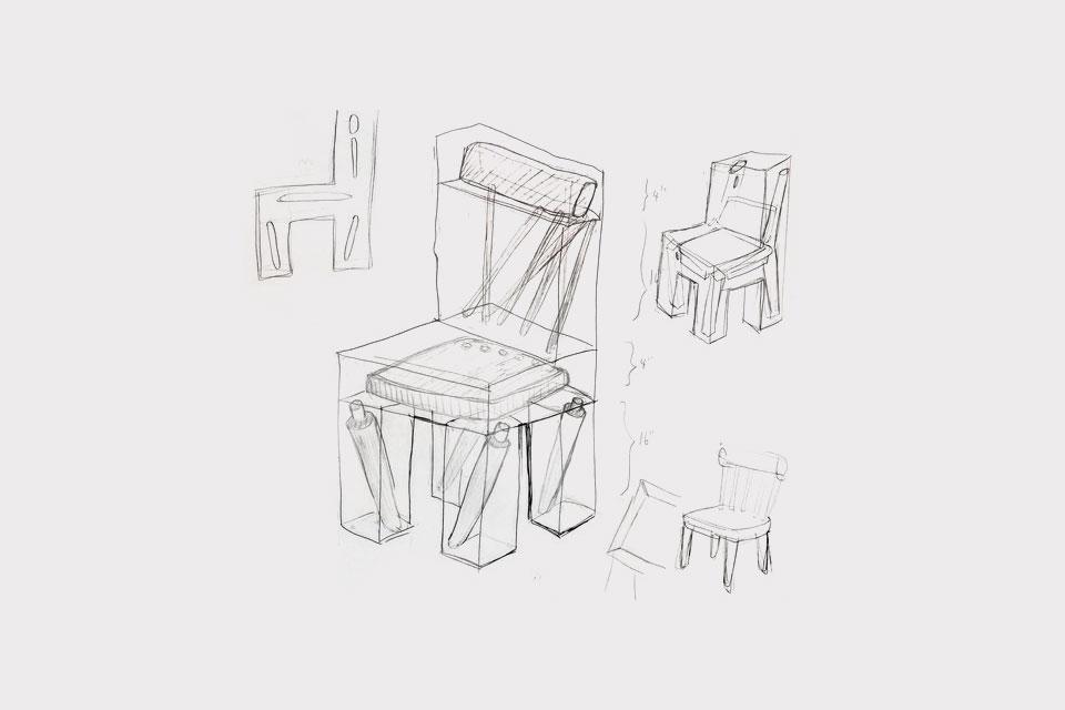 Der explodierte Stuhl im Plastikkäfig von Joyce Lin