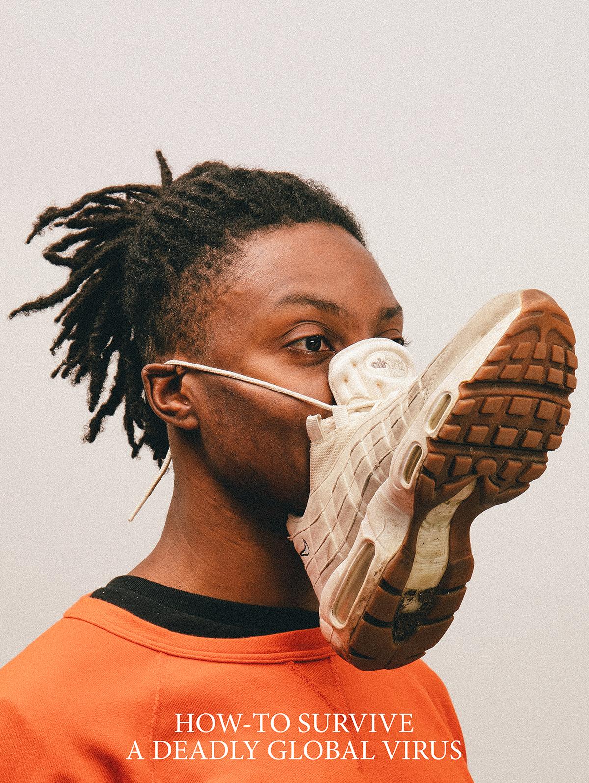 Atemschutzmaske aus Sportschuh